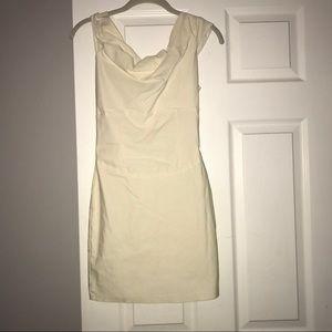🔥Off White Bodycon Dress with Cowl Neckline